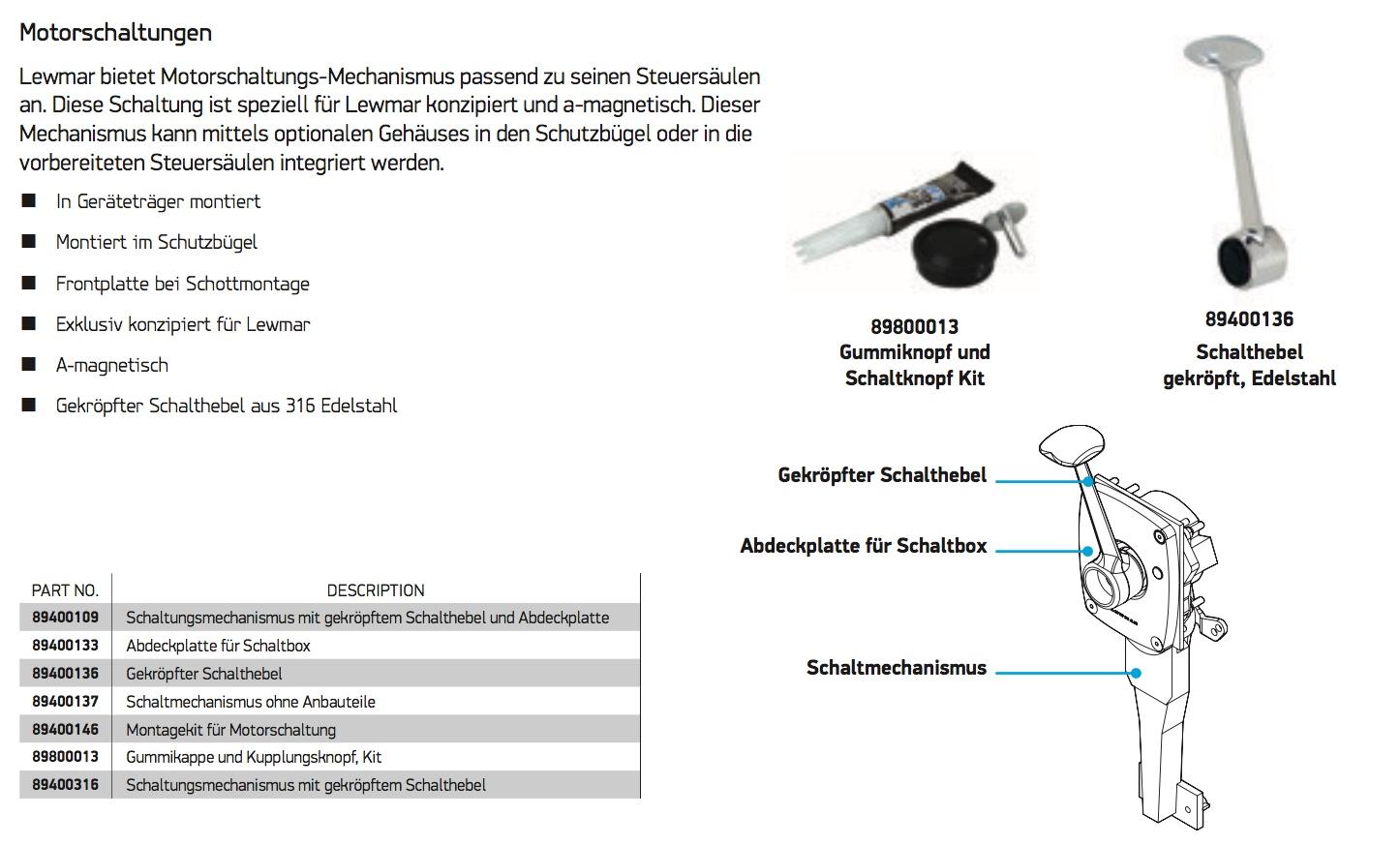 Lewmar Steuersäulen & Zubehör - Sailtec